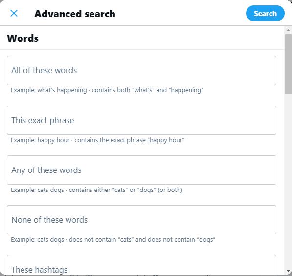 Advanced Search in Twitter