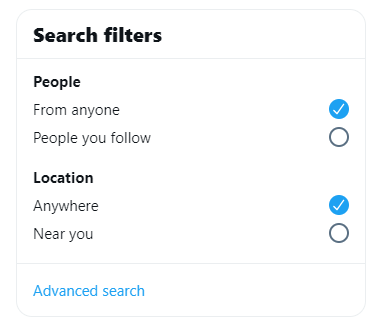 Search Filter Twitter